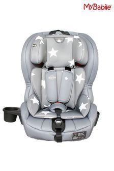 My Babiie Group 1 2 3 Grey Stars Isofix Car Seat