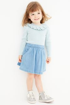 Blue Frill Neck Knitted Top (3mths-7yrs)