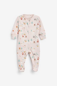 Pink GOTS Organic Christmas Character Sleepsuit (0-2yrs)