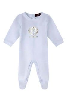 Boys Blue Cotton Logo Babygrow