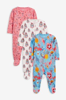 Pink 3 Pack Paisley Sleepsuits (0mths-2yrs)
