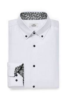 Grey Regular Fit Floral Contrast Trim Shirt