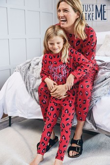 Red Matching Mother & Me Womens Animal Print Pyjamas