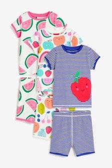 Multicoloured 3 Pack Fruit Cotton Appliqué Short Pyjamas (9mths-8yrs)