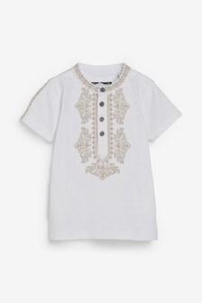 White Embellished Collar T-Shirt (3mths-7yrs)