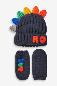 Navy 2 Piece Dinosaur Hat And Gloves Set (Younger)