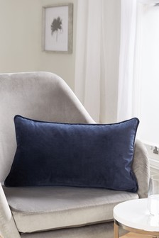 Navy/Grey Mila Twin Velvet Rectangle Cushion