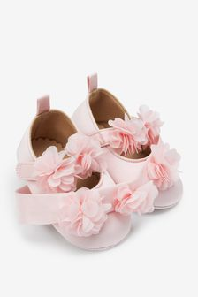 Pink Satin Corsage Pram Shoes And Headband Set (0-18mths)