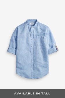 Blue Regular Fit Linen Blend Long Sleeve Shirt