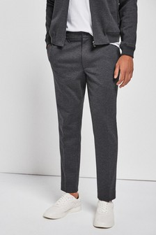 Grey Check Slim Fit Trousers With Elasticated Waist