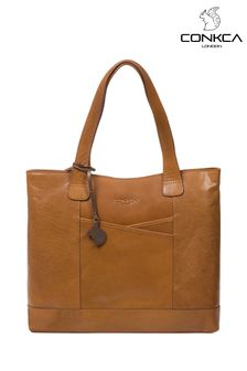 Conkca Patience Leather Tote Bag