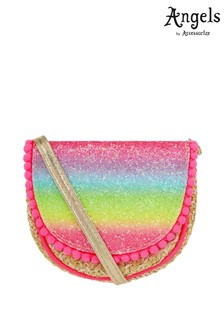 Angels by Accessorize Multi Rainbow Glitter Faux Straw Across Body Bag