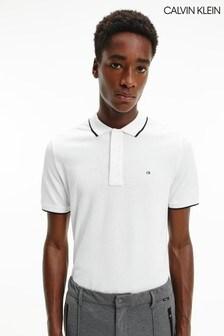 Calvin Klein White Stretch Tipping Slim Polo Shirt