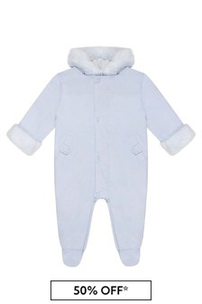 Baby Boys Pale Blue Padded Snowsuit
