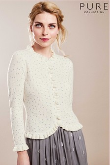 Pure Collection White Cashmere Ruffle Edge Cardigan