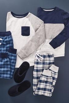 Blue 2 Pack Check Pyjamas (3-16yrs)