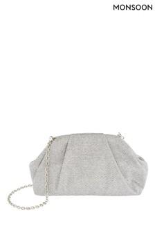 Monsoon Silver Glitter Occasion Clutch Bag