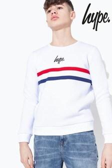 Hype. White Sport Stripe Crew Sweater