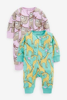 Bright Character 2 Pack Zip Sleepsuits (0-3yrs)