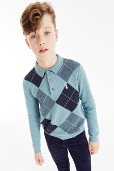 Blue Argyle Pattern Knitted Poloshirt (3-16yrs)