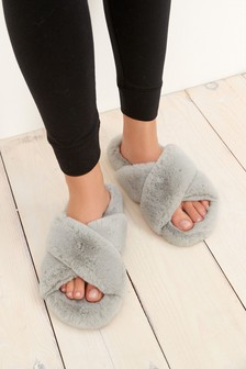 Pale Grey Crossover Cork Faux Fur Slider Slippers