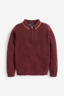Plum Zip Neck Knitted Polo (3-16yrs)