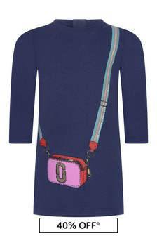 Baby Girls Navy Cotton Bag Print Dress