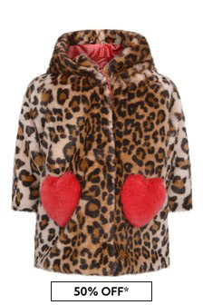 Monnalisa Baby Girls Leopard Print Faux Fur Coat