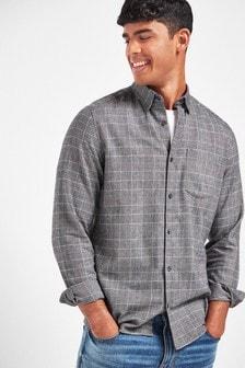 Black/Grey Slim Fit Check Brushed Long Sleeve Shirt