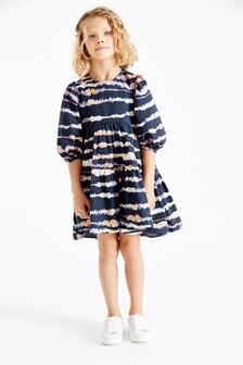 Navy Tie Dye Tiered Dress (3-16yrs)