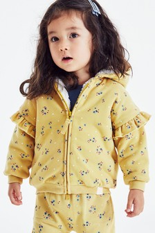 Ochre Floral Fleece Lined Hoody Soft Touch Jersey (3mths-7yrs)