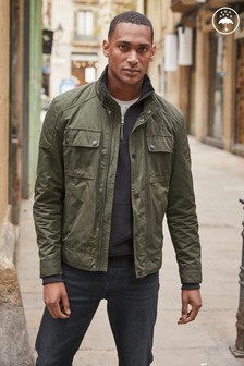Khaki Lightweight Shower Resistant Biker Jacket