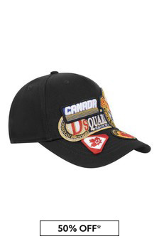 Kids Black Cotton Cap