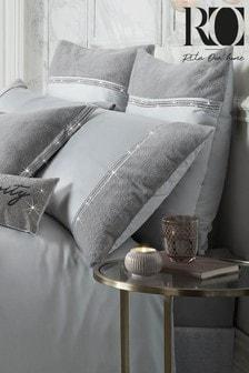 Set of 2 Rita Ora Sylvie Faux Fur and Sequin Trim Pillowcases