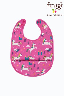 Frugi Pink Recycled Unicorn Print Sleeveless Catcher Bib