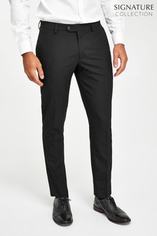 Black Slim Tapered Suit: Trousers