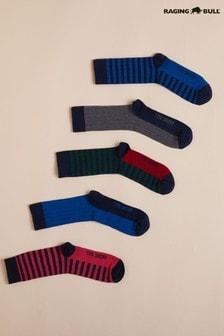 Raging Bull Blue Mens Rugby Stripe Socks Five Pack