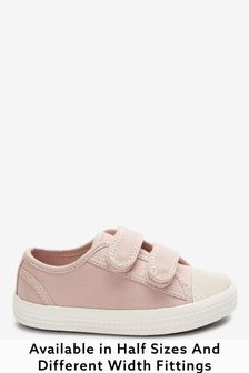 Pink Standard Fit (F) Canvas Bumper Toe Trainers (Younger)