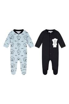 Boys Navy/Blue Cotton Babygrow Set