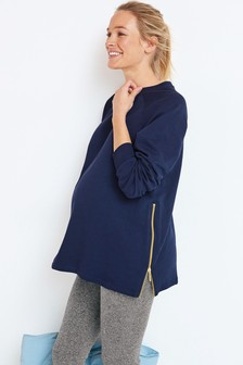 Navy Maternity/Nursing Zip Side Lounge Hoody