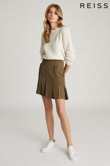 Reiss Green Mina Pleated Mini Skirt