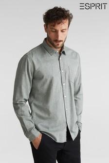 Esprit Green Long Sleeved Woven Structured Shirt