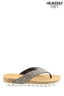 Heavenly Feet Ladies Black Toe-Post Diamanté Sandals