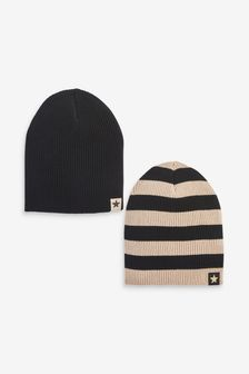 Black/Brown 2 Pack Beanie Hats (Younger)