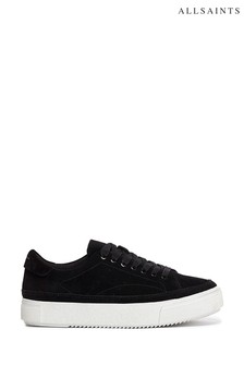 AllSaints Black Trish Low Top Lace-Up Suede Shoes