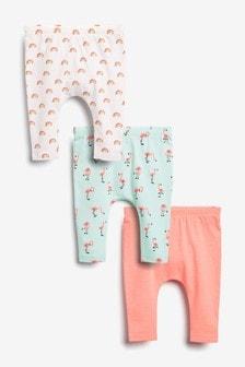 Multi 3 Pack Flamingo Leggings (0mths-2yrs)