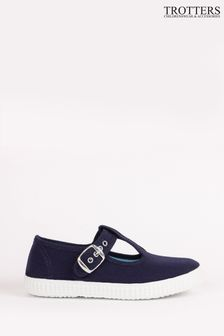 Trotters London Navy Nantucket Canvas Shoes