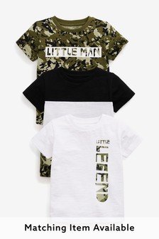 Khaki Camo 3 Pack Colourblock T-Shirts (3mths-7yrs)