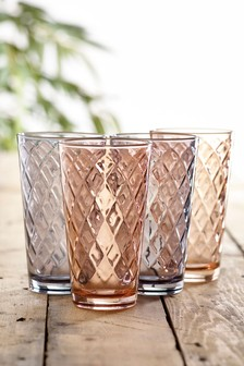 Set of 4 Diamond Embossed Tumbler Glasses