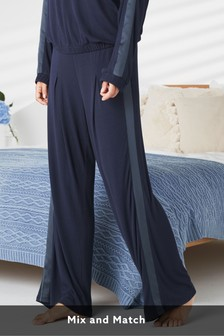 Navy Soft Wide Leg Trousers